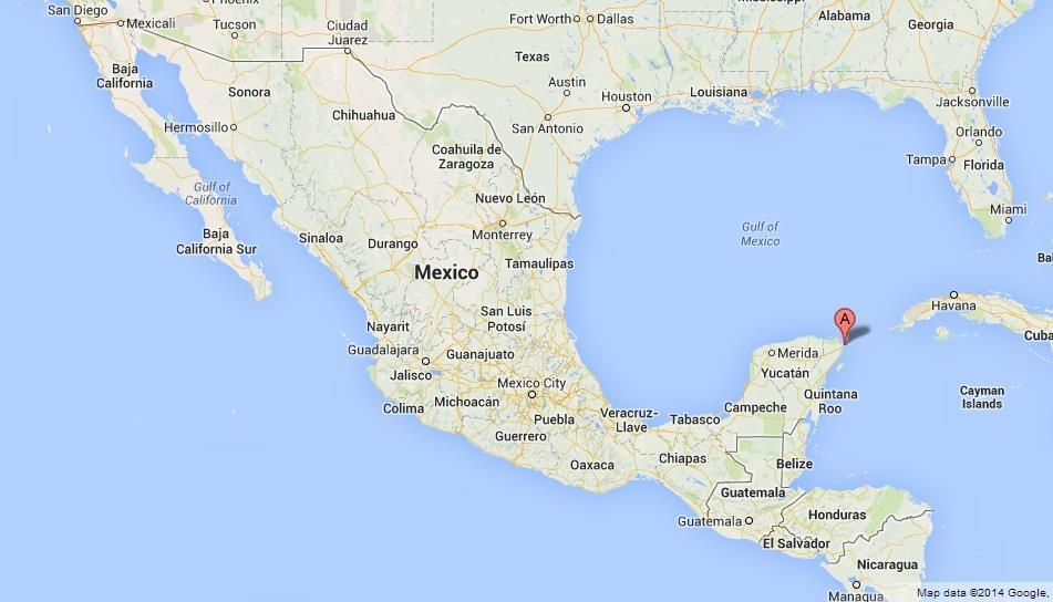 Карта Исла Мухерес Мексика
