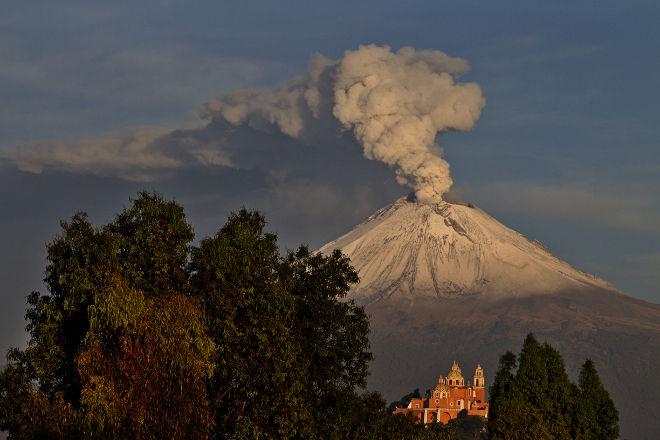 У своего подножья вулкан покрыт густой хвойной растительностью
